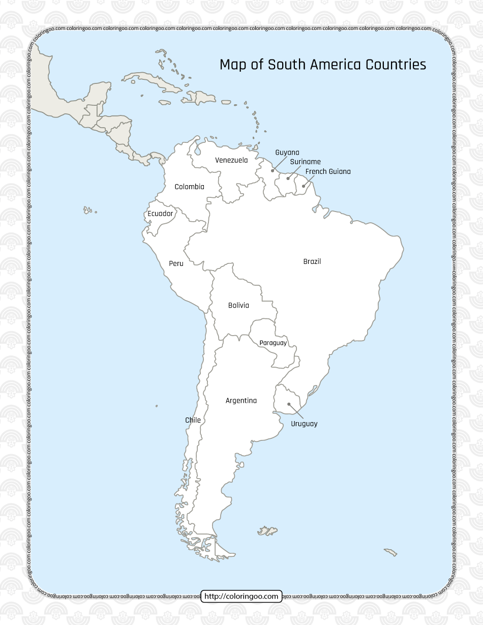 Printable Map of South America Countries Worksheet