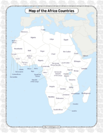 Printable Map of the Africa Countries Worksheet