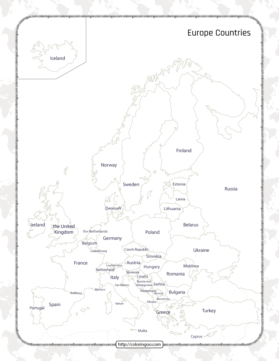 Printable Map of the Europe Countries Worksheet