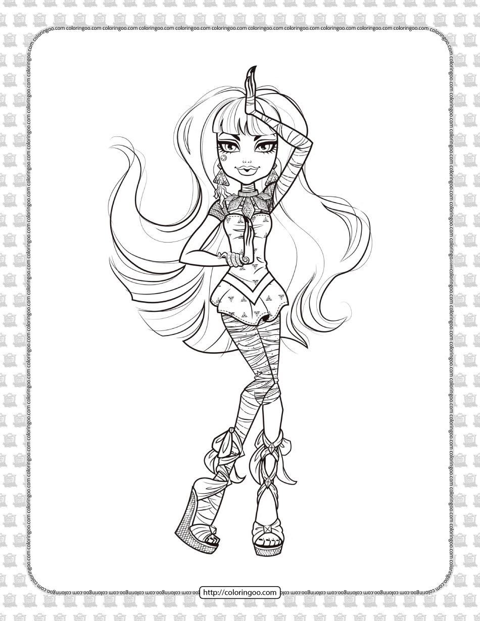 Printable Monster High Cleo De Nile Coloring Page