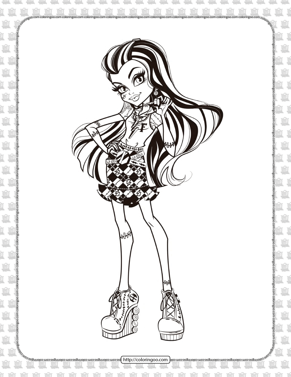 Printable Monster High Frankie Stein Coloring Page