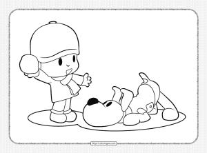 Printable Pocoyo and Loula Coloring Page