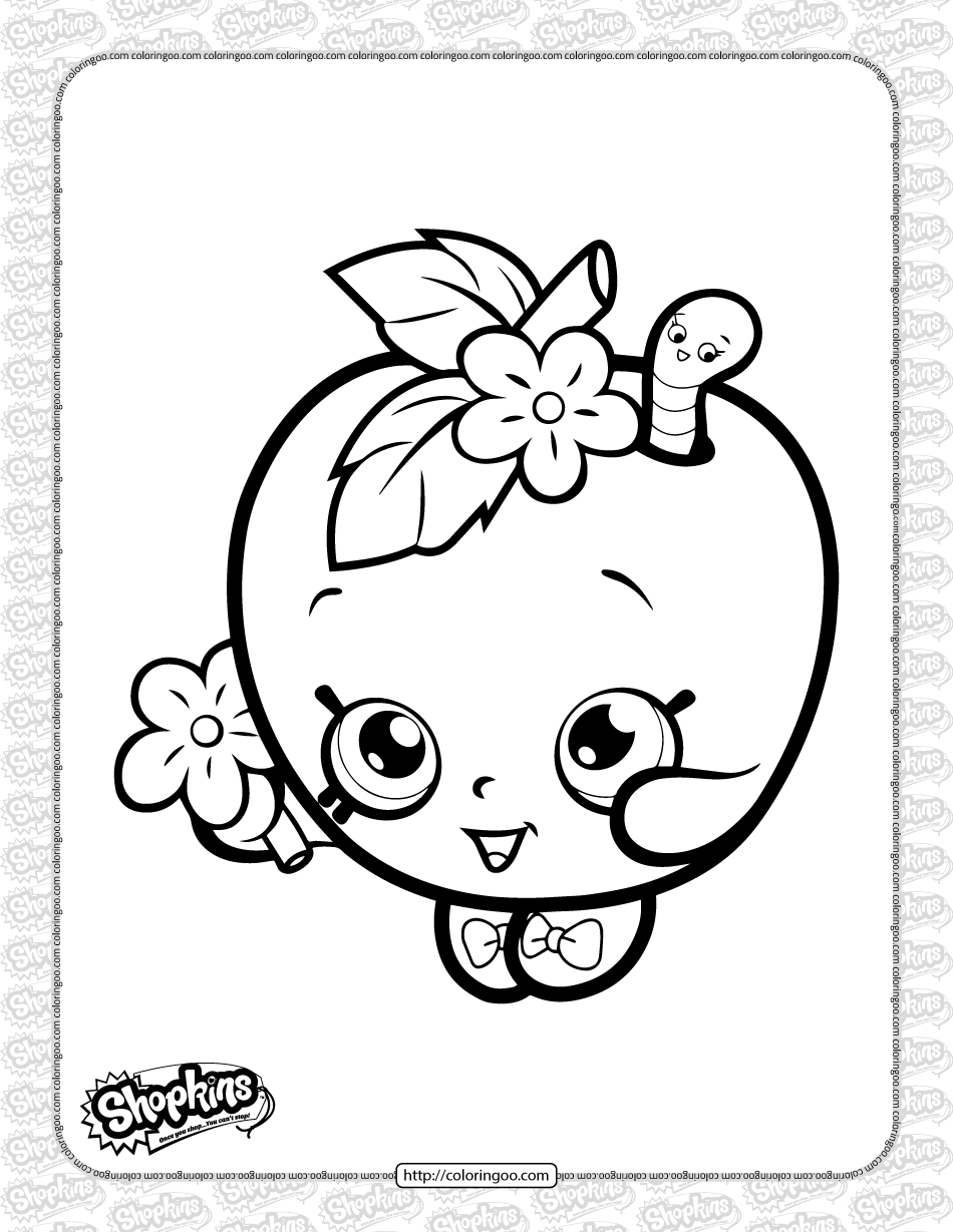 Printable Shopkins Apple Blossom Coloring Page