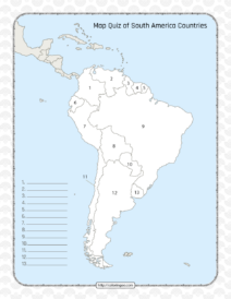Printable South America Countries Map Quiz & Solutions
