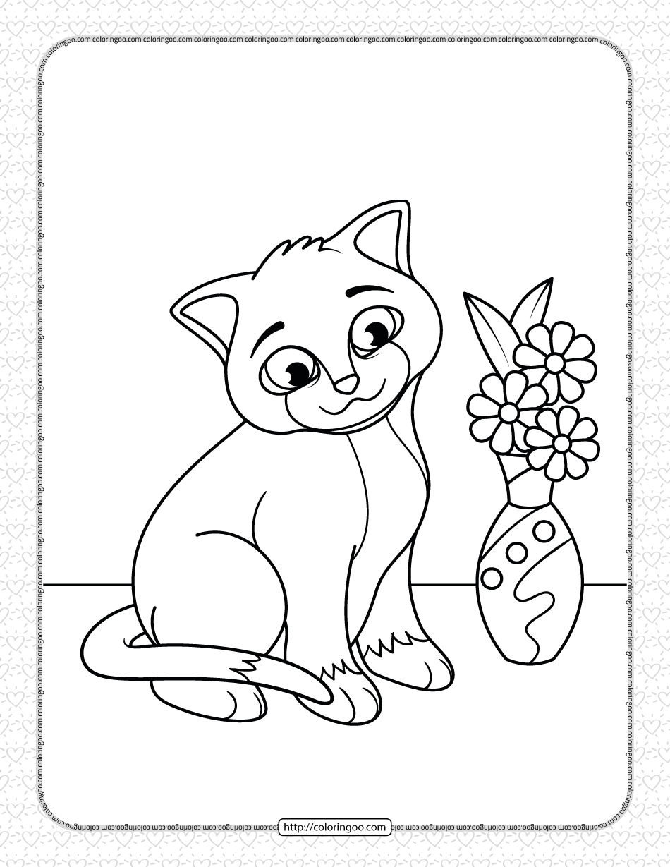 Printable the Cat next to the Vase Coloring Page