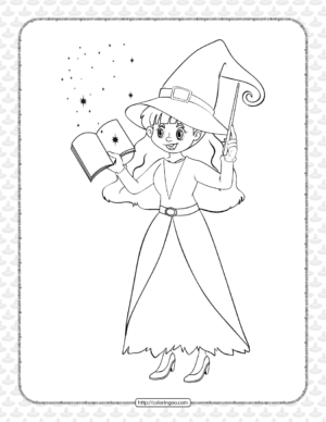 Printable The Witch Doing Magic Coloring Sheet