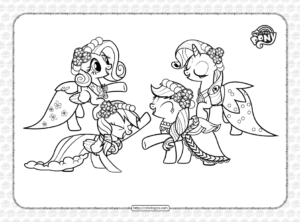 Fluttershy Rarity Rainbow Dash Applejack Coloring Page
