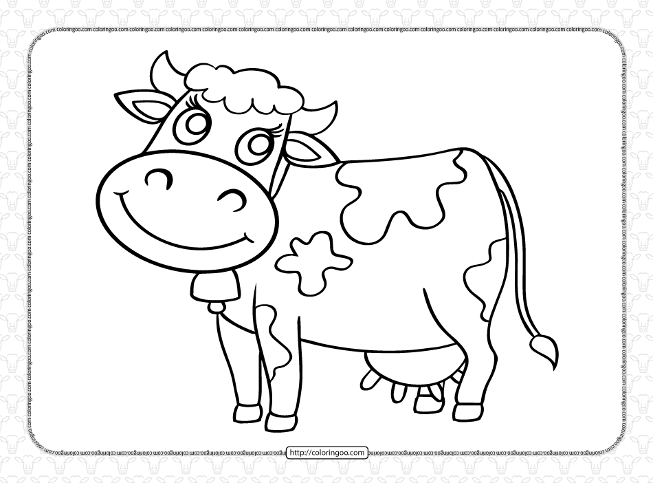 Free Printable Animals Cow Coloring Page