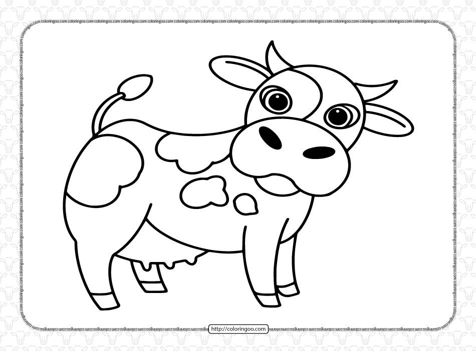 Free Printable Cute Cow Coloring Pages