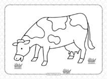Free Printable Grazing Cow Coloring Page