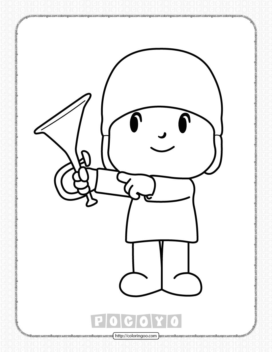 Free Printable Pocoyo Trumpet Coloring Page