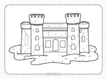 Free Printable Sand Castle Pdf Coloring Page