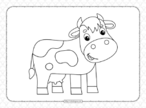 Free Printable Sweet Cow Coloring Page