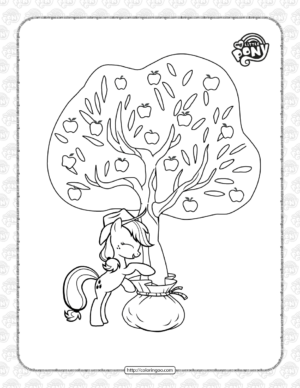 MLP Applejack Under The Tree Coloring Page