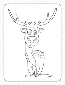Printable Cartoon Deer Coloring Page