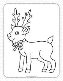 Printable Christmas Deer Coloring Page