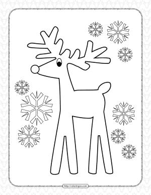 Printable Christmas Reindeer Coloring Page