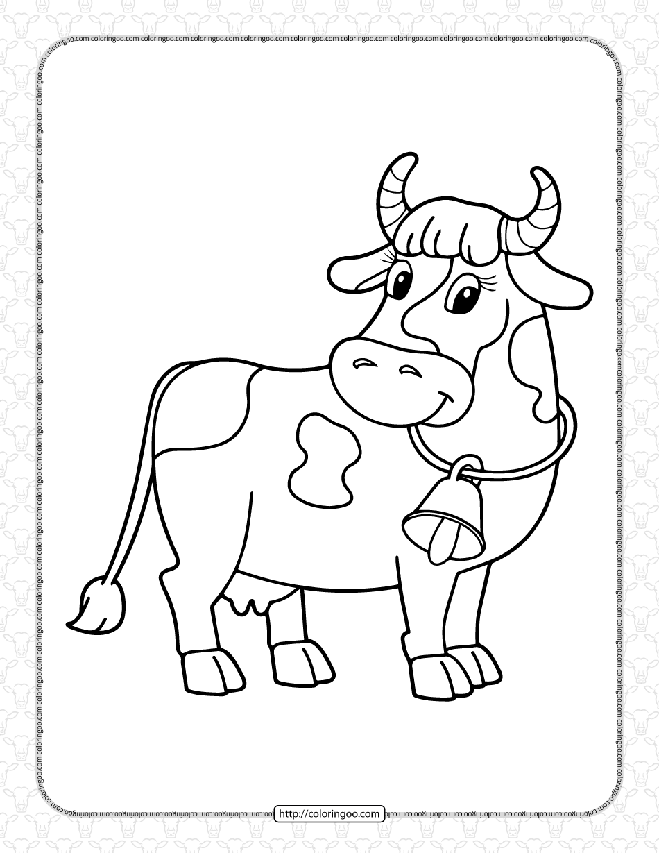 Printable Cow with a Bell Coloring Page