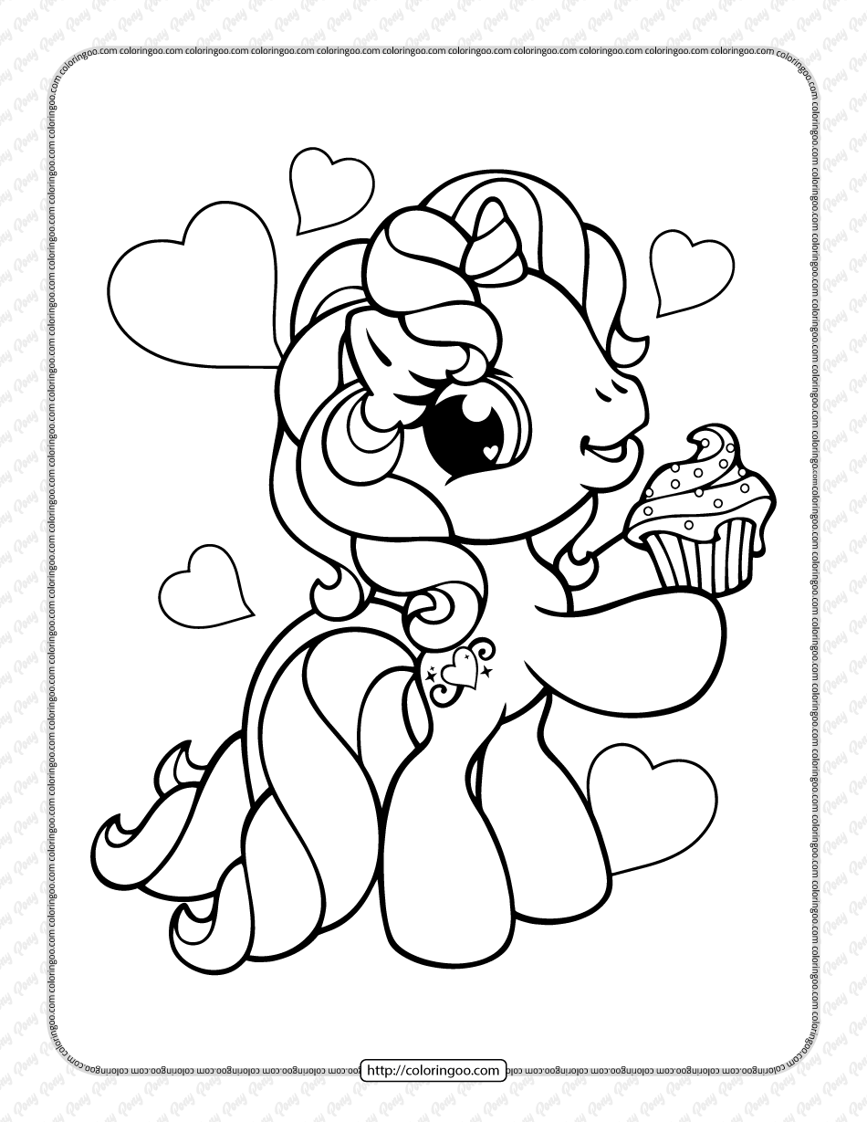 Printable Cute Pony Pdf Coloring Page