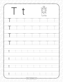 Printable Dotted Letter T Tracing Pdf Worksheet