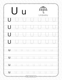 Printable Dotted Letter U Tracing Pdf Worksheet