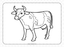 Printable Hand-drawn Cow Coloring Page