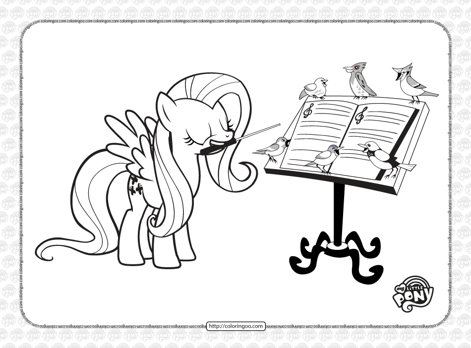 Printable MLP Fluttershy Songbird Chorus Coloring Page