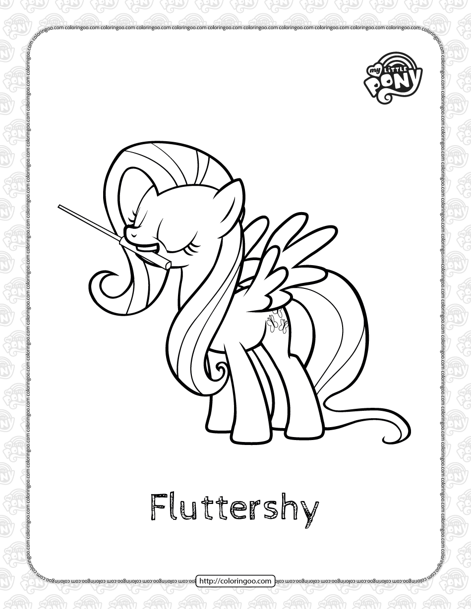 Printable My Little Pony Fluttershy Coloring Page