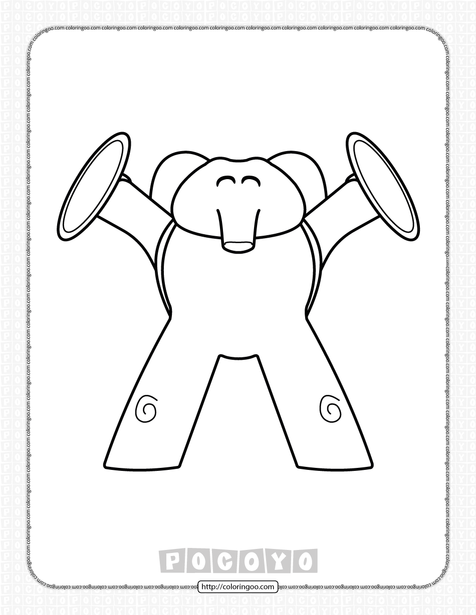 Printable Pocoyo Elly and Her Cymbals Coloring Page