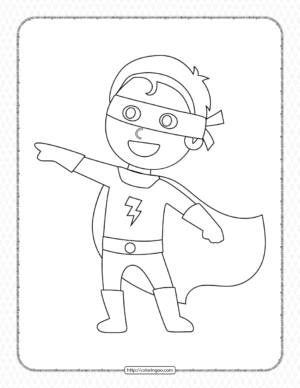Boy Wearing Superhero Costume Coloring Page