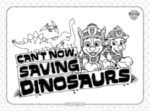 Paw Patrol Can't Saving Dinosaurs Coloring Page