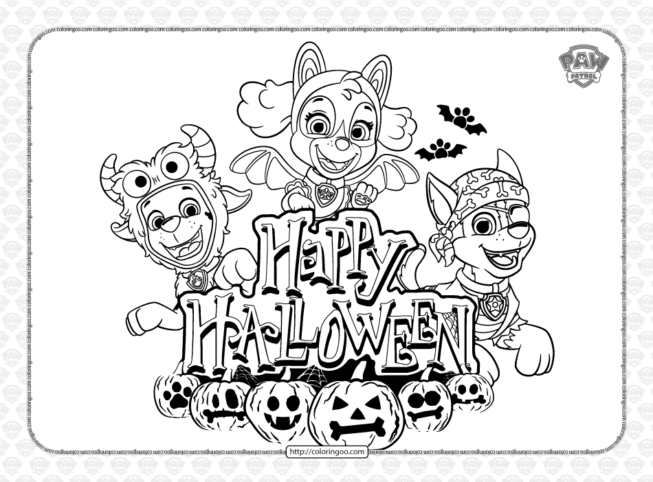 Paw Patrol Happy Halloween Pdf Coloring Book
