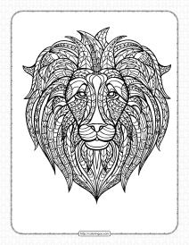 Free Printable Lion Head Pdf Coloring Page