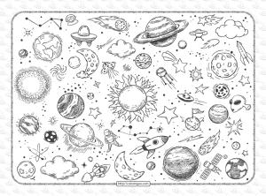 Free Printable Space Doodles Pdf Coloring Book