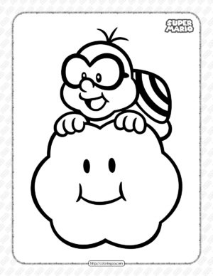 Free Printable Super Mario Lakitu Coloring Page