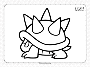 Free Printable Super Mario Spiny Coloring Page