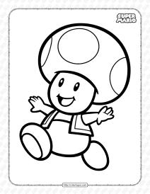 Free Printable Super Mario Toad Coloring Page