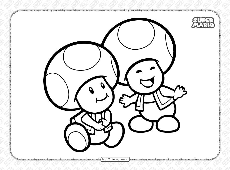 Free Super Mario Toads Coloring Book