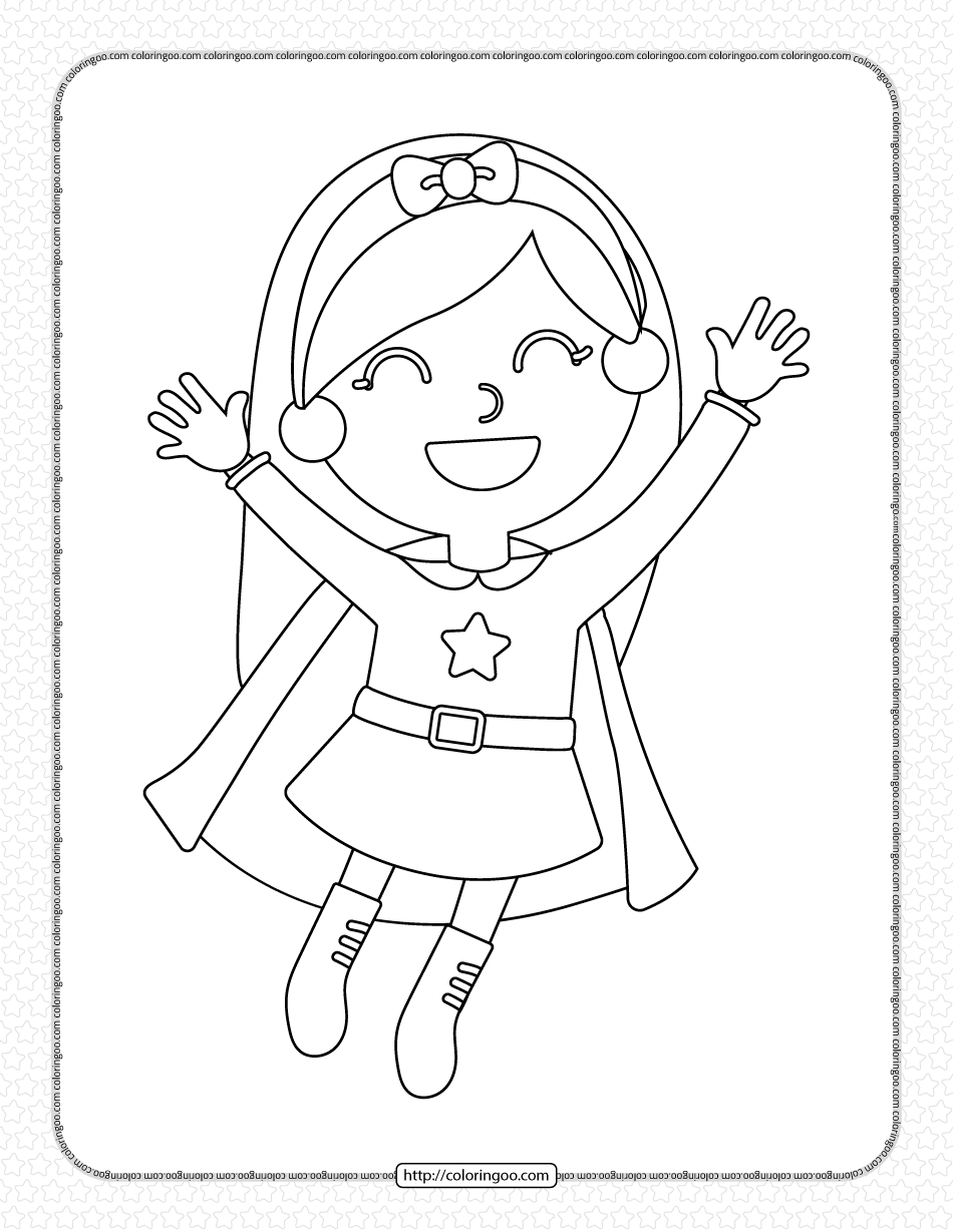 Girl Wearing Superhero Costume Coloring Page