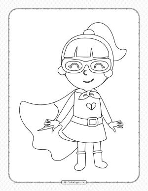 Girl Wearing Superhero Costume Pdf Coloring Page