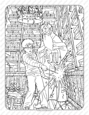 Harry Potter Gets His Wand Coloring Page