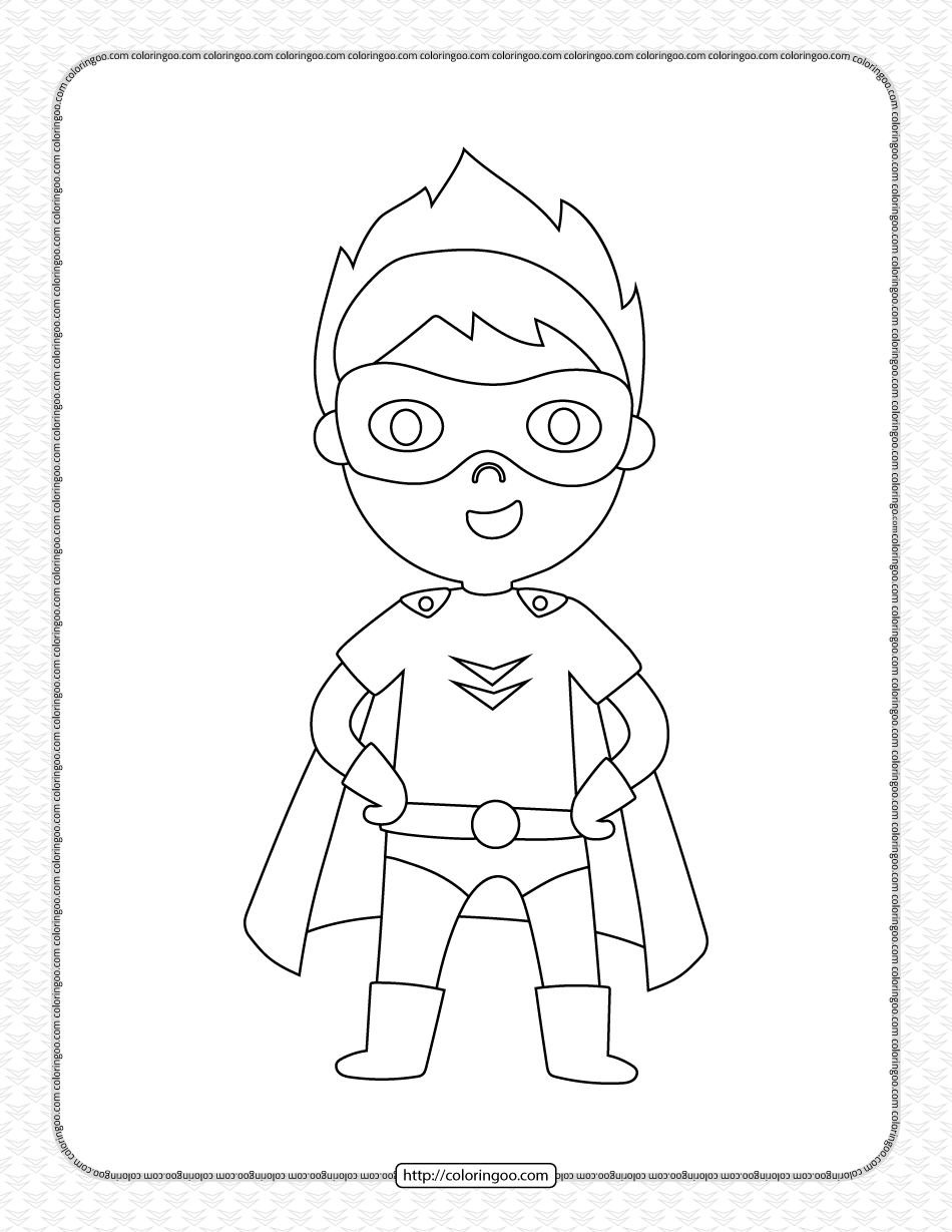 Kid Wearing Superhero Costume Pdf Coloring Page