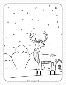 Printable Arctic Deer Coloring Pages for Kids