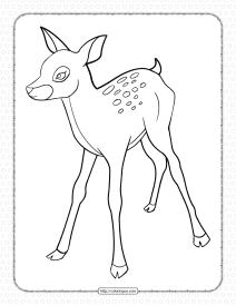 Printable Baby Deer Pdf Coloring Page