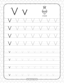 Printable Dotted Letter V Tracing Pdf Worksheet