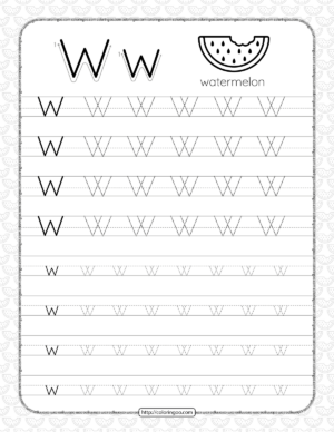 Printable Dotted Letter W Tracing Pdf Worksheet