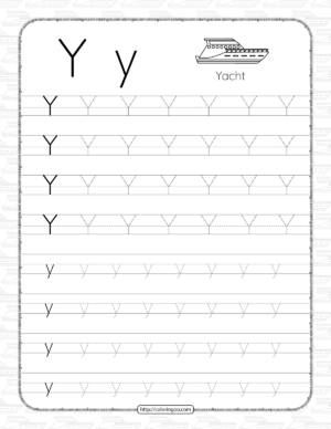 Printable Dotted Letter Y Tracing Pdf Worksheet