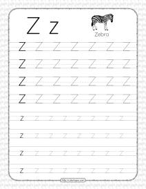 Printable Dotted Letter Z Tracing Pdf Worksheet