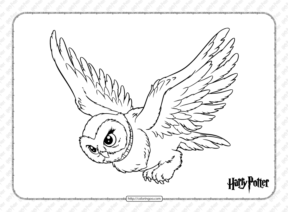 Printable Harry Potter Hedwig Coloring Page