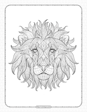 Printable Lion Head Coloring Book for Adults